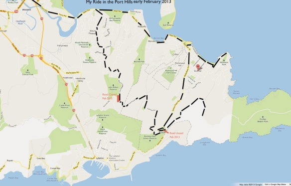 Port Hills bike ride Feb 2013 - check to see if the roads are open!