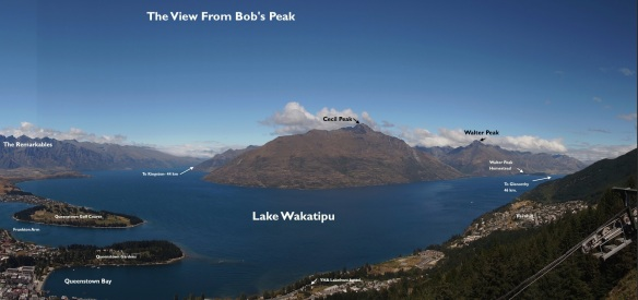 panorama of Queenstown and Lake Wakatipu from Bob's Peak