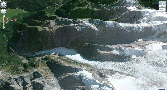 satellite shot showing SH6, Fox Glacier Village, and the Fox River tumbling down from the Fox Glacier