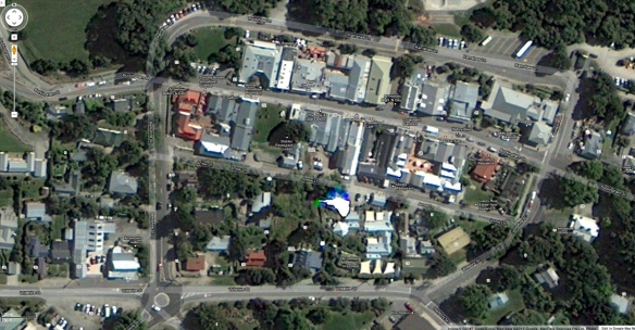 satellite view of Arrowtown downtown area