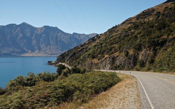 SH6 along the shores of Lake Hawea to Wanaka