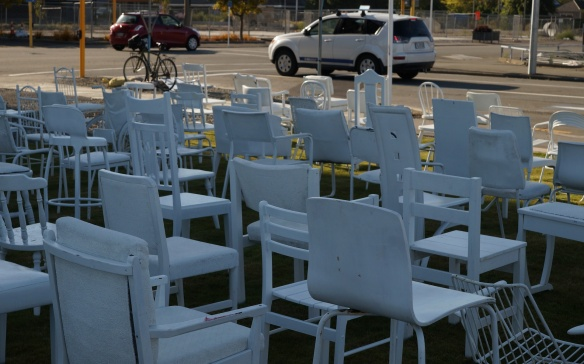 some of the 185 Empty Chairs- Christchurch