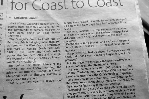 Coast To Coast Race article in a Westland Newspaper found at the Ross diner
