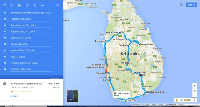 Sri Lanka - Bike Tour Route