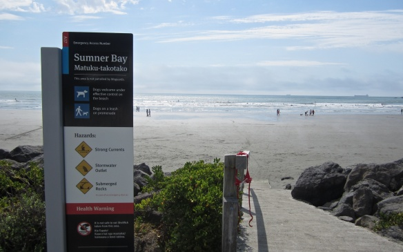 Sumner Beach warning sign