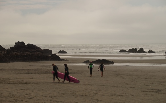 surfers and strollers on Sumner Beach