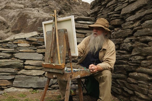 the artist - a retired Queenstown guy who paints at this Buckingham Green spot occasionally