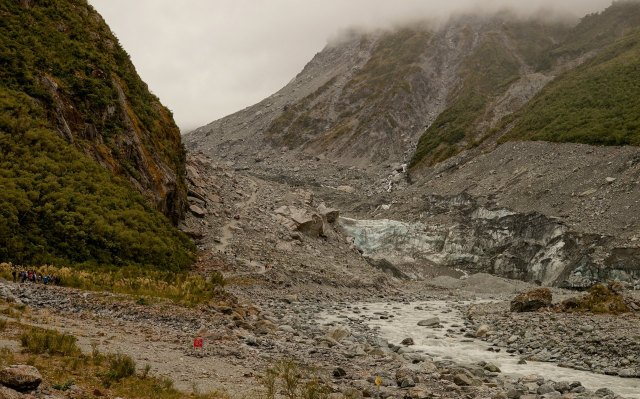 The toe of the Fox Glacier - and the trail that runs up alongside