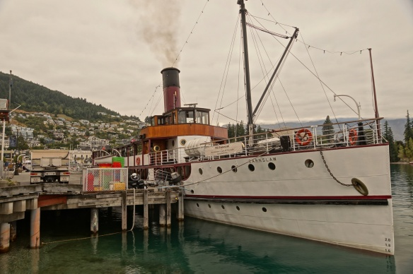 The TSS Earnslaw coal steamer at the Queenstown wharf