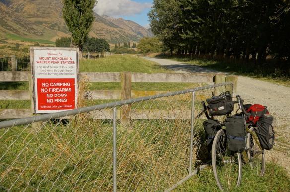 warning sign on the Walter Peak-Mount Nicholas Road