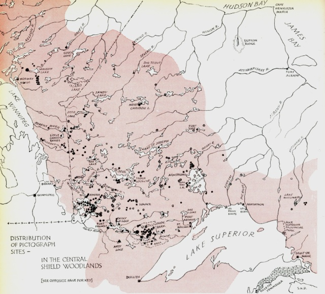 Indian Rock Paintings of the Canadian Shield map - west part