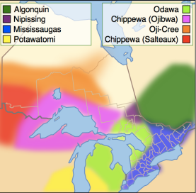 Anishinaabe and Anishinini distribution  around 1800: Darren Baker