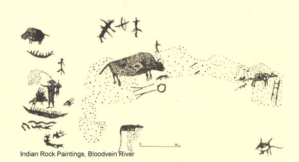 Bloodvein River - drawing of pictographs on rock face