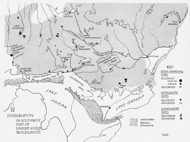 dewdney-indian-rock-paintings-of-the-canadian-shield-map-east-section