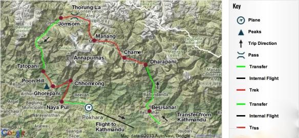 Annapurna Circuit map - KE Adventure Travel