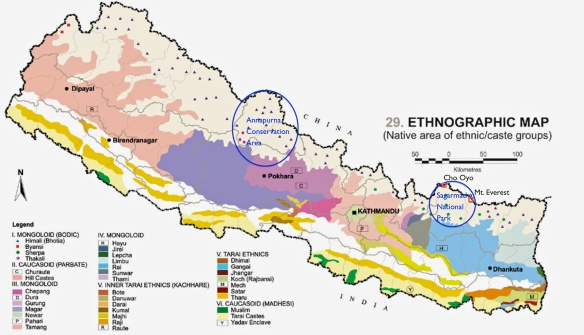 Nepal map – with two main trekking areas and ethnic groups – indicated. Source of the map here
