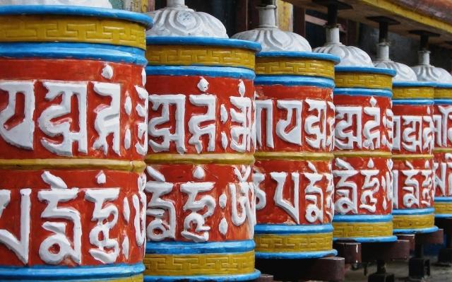 prayer wheels on the Annapurna Circuit