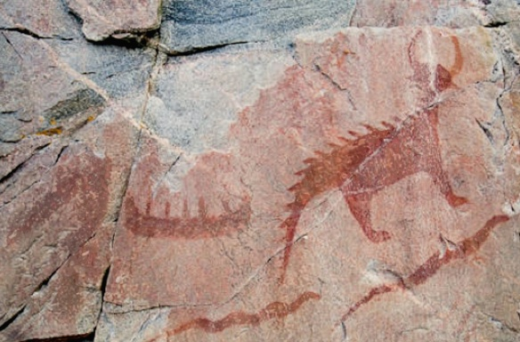 Mishupeshu and other pictographs at Agawa Bay