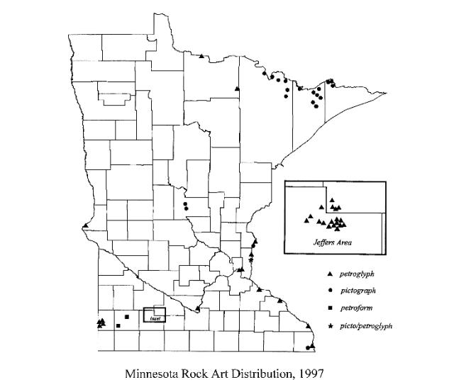 Minnesota Rock Art Distribution 1997