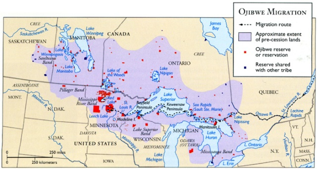 Ojibwe-controlled land in the early 1800's