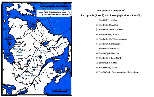 click on map to enlarge - see here for an explanation of the Borden code system used to identify these Quebec sites