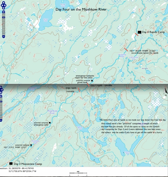 Day 4 Misehkow River map - rapids and campsites