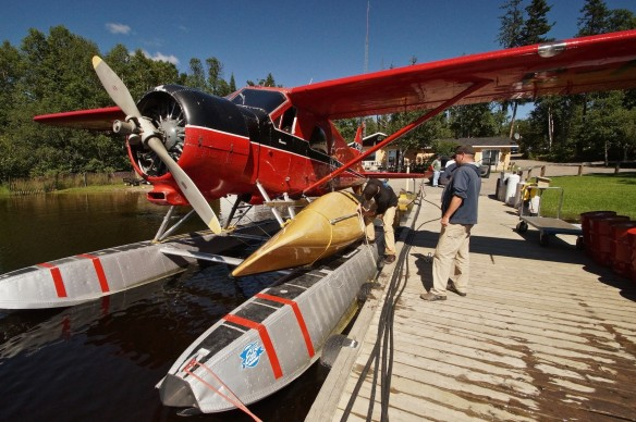 two great Canaidan inventions - the deHavilland Beaver and the canoe- at the dock of Mattice Lake Outfitters