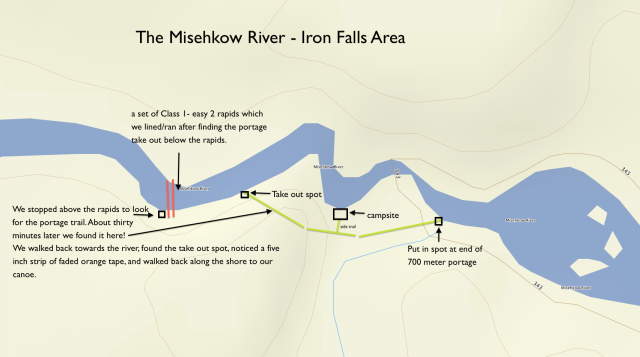 a detailed look at the Iron Falls area on the Misehkow - the portage is on River Right!