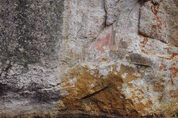 an ochre smudge with evidence of flaking