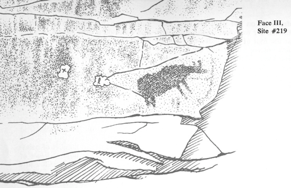Dewdney's sketch of the moose pictograph on Cliff Lake