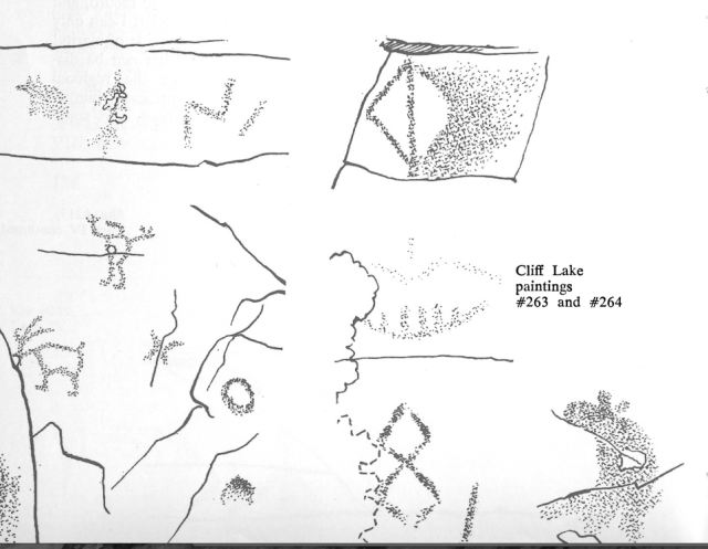 Dewdney sketches of Cliff Lake pictograph panels