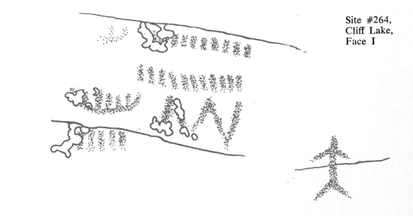 Dewdney sketch of stick figure from Cliff lake site #264