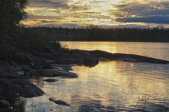 golden sunset on Miminiska Lake