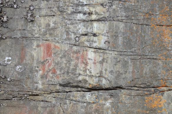 Cliff Lake pictographs - human figure without a head and other indecpherable marks to the left of the moose