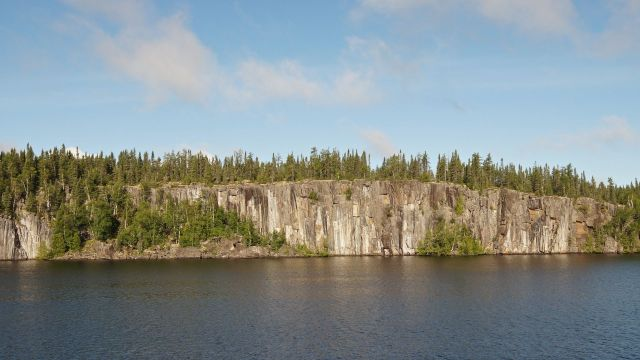 rock face across from the camp site on Cliff Lake