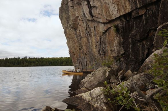 rock face at the south end of the lake across from the first of the portages to Bad Medicine Lake