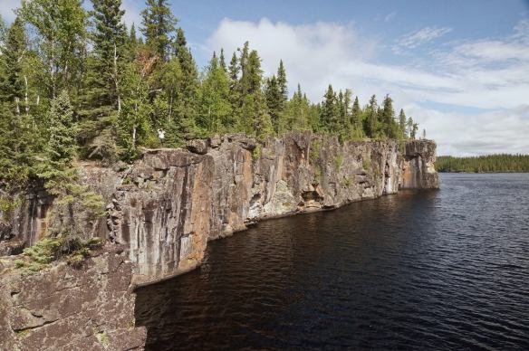 a small stretch of Cliff Lake's vertical rock face