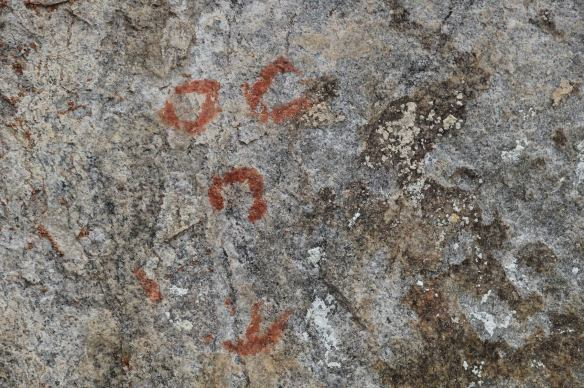 "the three ""horseshoes"" and the canoe  pictographs from Cliff Lake"