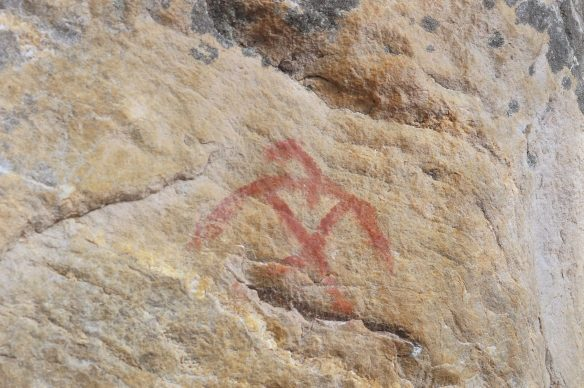 thunderbird pictograph on Cliff Lake south end