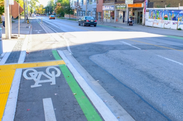 new dedicated cycle lane on Sherbourne