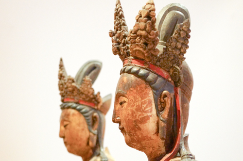 the heads of bodhisattva statues at the R.O.M