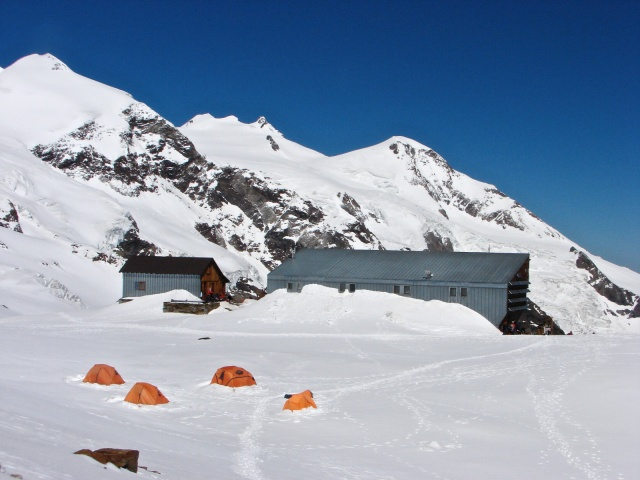 afternoon view of the Quintino Sella Hut
