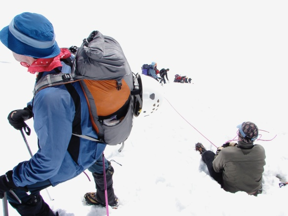 dealing with a steep and  icy descent