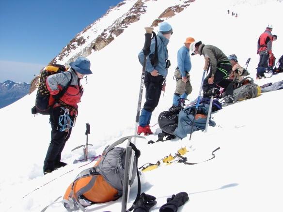 our crew chillin' after our steep descent