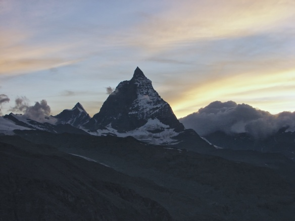 the Matterhorn at dusk from the Monte Rosa Hut
