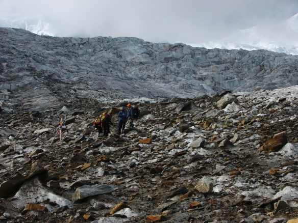 scree on glacier below the Monte Rosa Hut