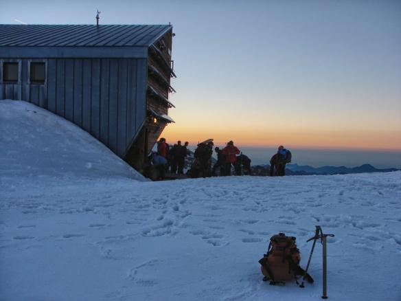 5:45 a.m.  at the Quintino Sella Hut