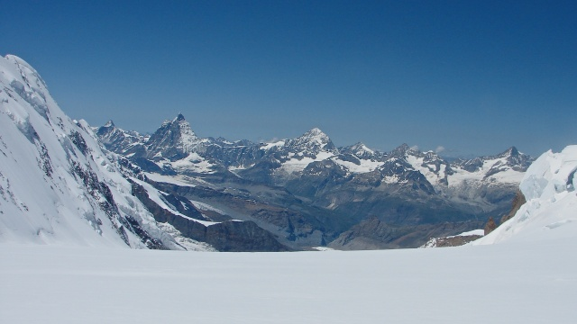 looking back to the Matterhorn from the top of the gorner glacier