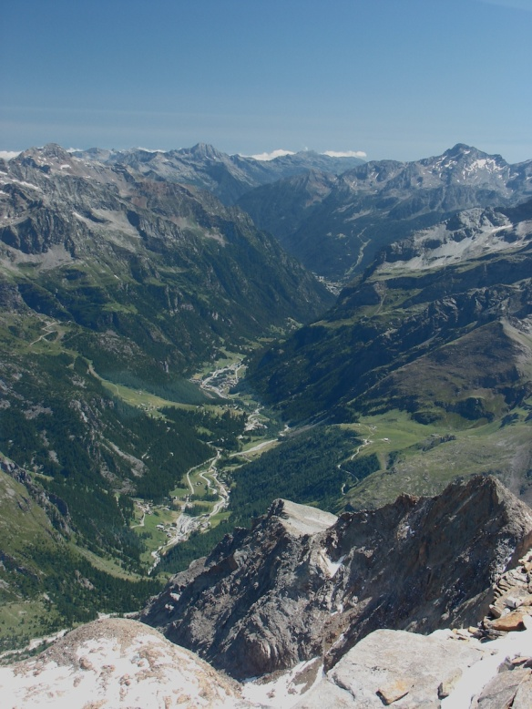 looking down into Italy from the Quintino Sella Hut