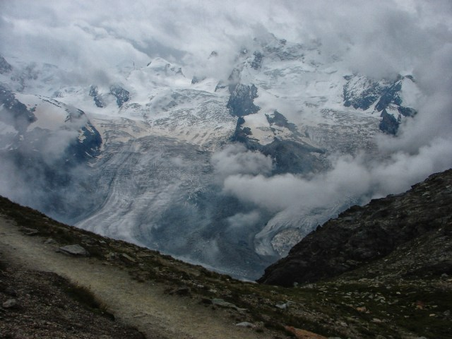 looking down on the Gorner Glacier from the trail to Rotenboden